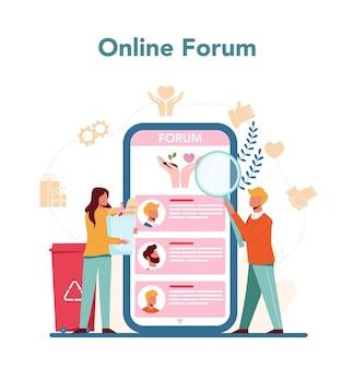 Wolontariat internetowy lub platforma zestaw ilustracji
