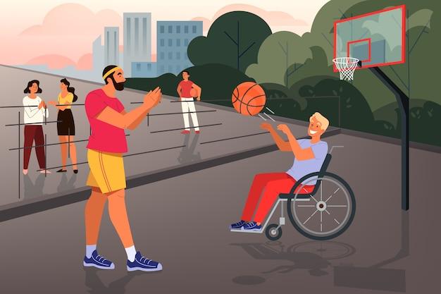 Wolontariusz pomaga ludziom koncepcja. społeczność charytatywna wspiera osoby niepełnosprawne w prowadzeniu aktywnego życia. mężczyzna siedzi na wózku inwalidzkim i gra w koszykówkę. ilustracja