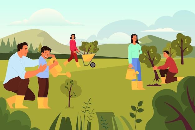 Wolontariusz pomaga ludziom pomysł. społeczność charytatywna zasadzi drzewo. idea opieki i koncepcji ludzkości, przyrody i ekologii. ilustracja