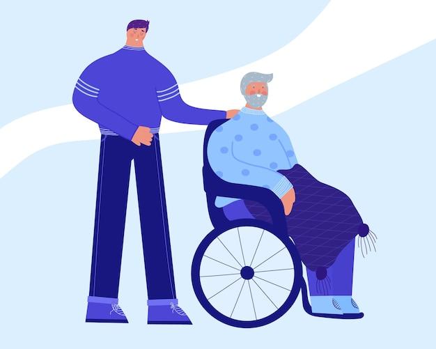 Wolontariusz pomaga starszej osobie niepełnosprawnej opiekę nad osobami starszymi