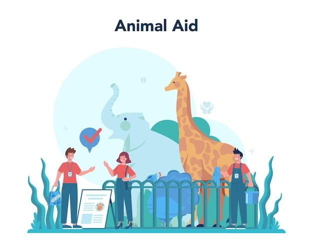 Wolontariusz. społeczność charytatywna, opiekuj się zwierzęciem, wspieraj ekologię, złóż darowiznę. idea opieki i człowieczeństwa. ilustracja na białym tle wektor