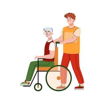 Wolontariusz wspierający płaską ilustrację starszego niepełnosprawnego mężczyzny