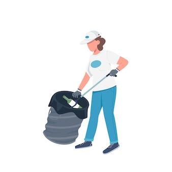 Wolontariusz zbierający śmieci w płaskim kolorze bez twarzy. woźny sprzątający śmieci na białym tle ilustracja kreskówka do projektowania grafiki internetowej i animacji. oczyszczanie środowiska, sprzątanie