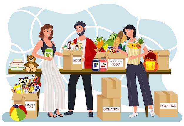 Wolontariusze i skrzynki na datki. darowizna, fundusze na cele charytatywne, prezent w naturze. koncepcja opieki społecznej i charytatywnej.