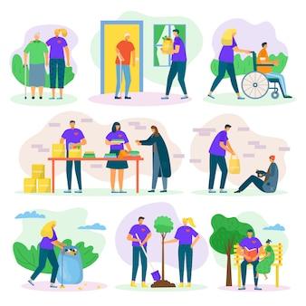 Wolontariusze pomagają i dobroczynnie służą opiece nad ludźmi, pomagają seniorom, inwalidom i biednym, zestaw ilustracji wsparcia społecznego. wolontariat społeczny, darowizny i wolontariat.