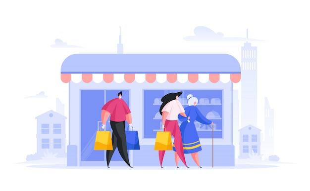 Wolontariusze pomagają starszej pani na zakupy