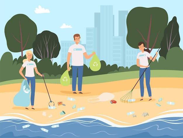 Wolontariusze pracują. ludzie współpracują ze sobą w zespole postaci, chroniąc przyrodę przy przetwarzaniu śmieci w tle parku.
