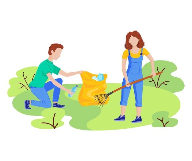Wolontariusze sadzą drzewa, sprzątają plastikowe śmieci w parku miejskim. wektor płaski zestaw z ludźmi zbierając śmieci śmieci sprzątanie na zewnątrz przyrody. koncepcja wolontariatu, ekologii i środowiska.