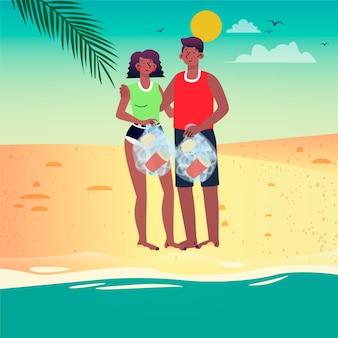 Wolontariusze sprzątający plażę