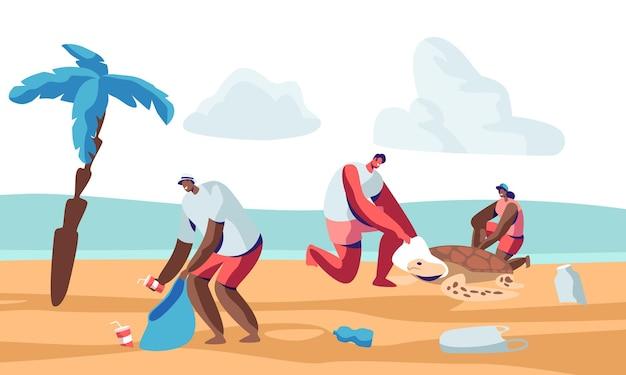 Wolontariusze sprzątający śmieci na plaży i ratujący tortury. płaskie ilustracja kreskówka