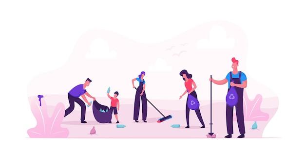Wolontariusze sprzątający śmieci na terenie parku miejskiego. płaskie ilustracja kreskówka