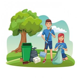 Wolontariusze sprzątający w parku