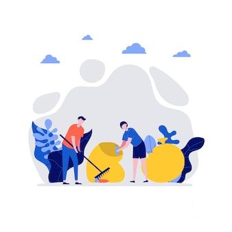 Wolontariusze w pracy. szczęśliwa młoda para, mężczyzna i kobieta razem sprzątanie śmieci. koncepcja wolontariatu i dobroczynności społecznej.