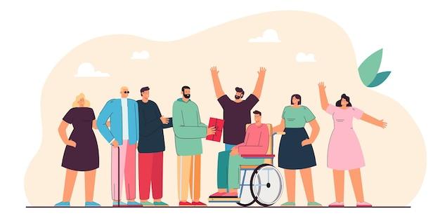 Wolontariusze wręczający prezenty osobie niepełnosprawnej. ludzie pomagają człowiekowi na wózku inwalidzkim i niewidomy facet ilustracja płaski. opieka zdrowotna, koncepcja wolontariatu