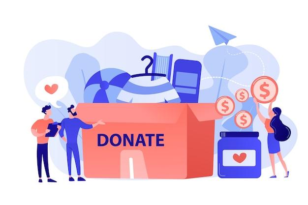 Wolontariusze zbierają towary na cele charytatywne do ogromnej skrzynki na datki i przekazują monety do słoika. darowizna, fundusze na cele charytatywne, prezent w naturze. różowawy koralowy bluevector ilustracja na białym tle