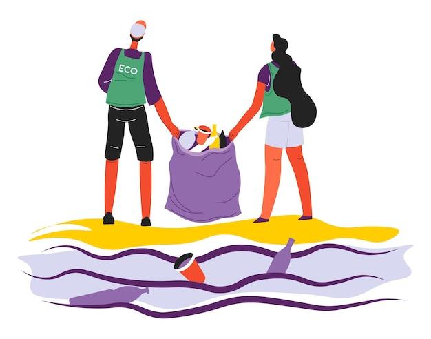 Wolontariusze zbierający śmieci w oceanach lub morzach, wolontariusze z workami śmieci. mężczyzna i kobieta zbierają śmieci przy plaży. dbanie o ekologię i zanieczyszczenie środowiska, wektor w stylu płaskim
