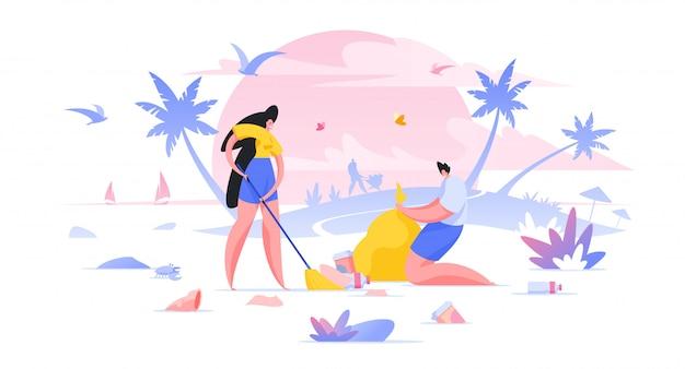 Wolontariuszi czyści plaża pracowników opieki społecznej płaską ilustracyjną kreskówkę