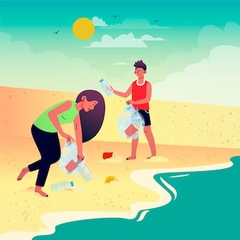 Wolontariuszi czyści plażową ilustrację