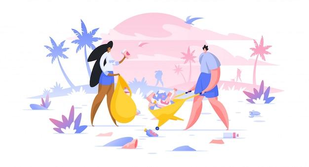 Wolontariuszi zbiera śmieci na plażowej ilustraci