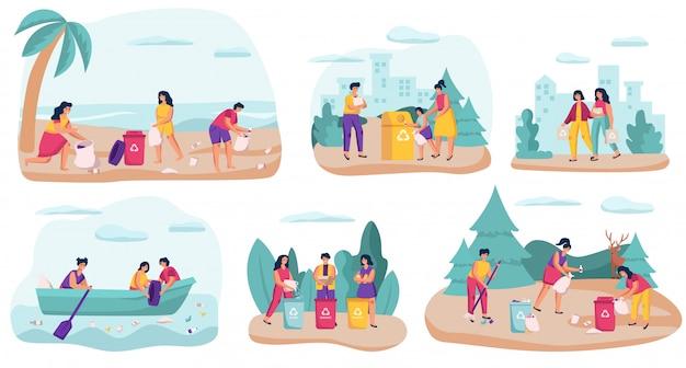 Wolontariuszi zbiera śmieci w naturze, ilustracja