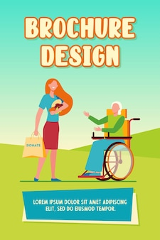 Wolontariuszka przynosząca żywność niepełnosprawnej kobiecie. darowizna, wózek inwalidzki, ilustracja wektorowa płaska osoba niepełnosprawna