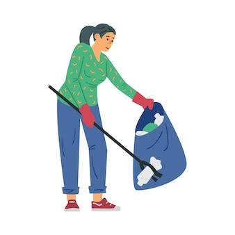 Wolontariuszka zbierająca plastikowe śmieci płaskie wektor ilustracja na białym tle