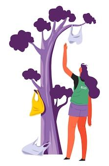 Wolontariuszka zbierająca plastikowe torby i śmieci wiszące na drzewie, eko-aktywistka zbierająca śmieci. wspólnota lub organizacja ludzi świadomych ekologicznie. postać dbająca o ochronę przyrody, wektor