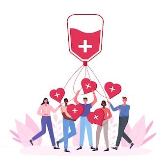 Wolontariuszki kobiety i mężczyzny oddające krew. charytatywna dawca krwi. światowy dzień dawcy krwi, opieka zdrowotna. ludzie trzymają serca.