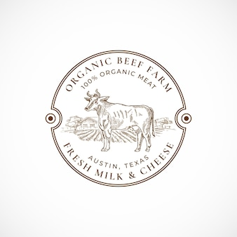 Wołowina i mleko gospodarstwo oprawione odznaka retro lub szablon logo.