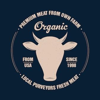 Wołowina, krowa, byk. vintage typografia, napis, retro nadruk, plakat do sklepu mięsnego butchery, sylwetka głowy krowy z napisem tekst wołowiny. głowa krowy na białym tle sylwetka, temat mięsa. ilustracja wektorowa