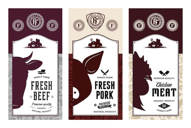 Wołowina wieprzowa kurczak etykiety w nowoczesnym stylu