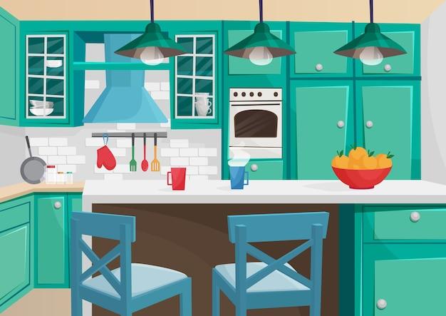 Wolumetryczna ilustracja kreskówka przytulnego wnętrza kuchni retro vintage.