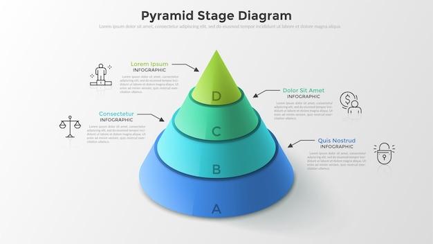 Wolumetryczna okrągła piramida lub stożek podzielony na 4 kolorowe poziome warstwy, symbole cienkich linii i pola tekstowe. schemat sceniczny. szablon projektu nowoczesny plansza. do prezentacji.