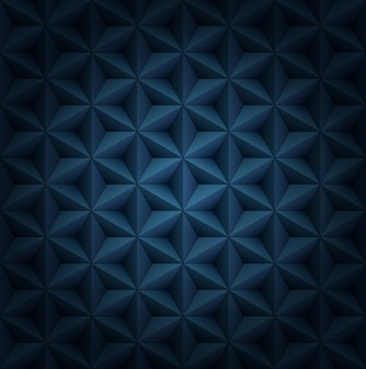 Wolumetryczne wielokątne płytki gwiazdowe ciemnoniebieski luksusowy wzór z winietą.