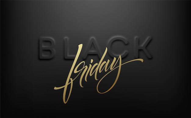 Wolumetryczny tłoczony napis black friday w kolorze jasnoszarym na czarnym tle