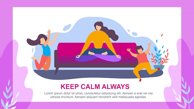 Woman meditate children jump keep calm always