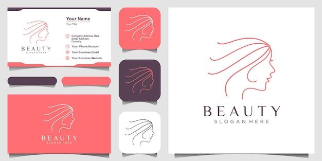 Womans face line art style logo i koncepcja projektowania wizytówek dla salonu piękności spa