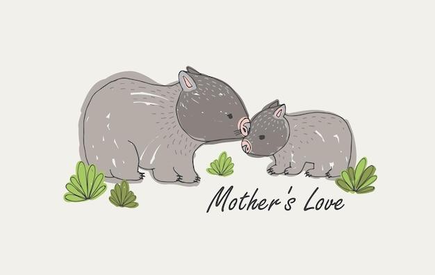 Wombat z dzieckiem na białym tle. rodzina uroczych dzikich zwierząt i odręczny tekst miłości matki. matka i młodzieniec. fauna australii. ilustracja wektorowa do druku odzieży.