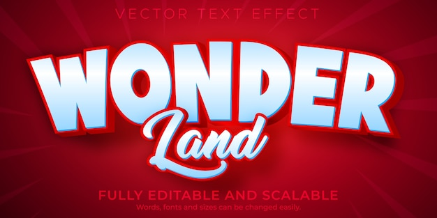 Wonder edytowalny efekt tekstowy edytowalny czerwony i biały styl tekstu