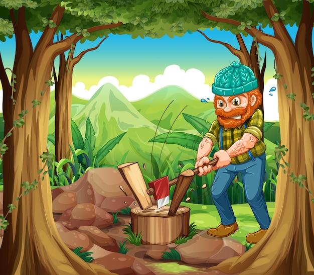 Woodman sieka lasy w lesie w pobliżu skał