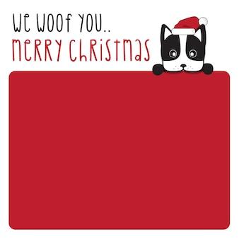 Woof you wesołych świąt i szczęśliwego nowego roku - pies boston terrier ręcznie rysowane napis projekt karty lub tło plakatu.