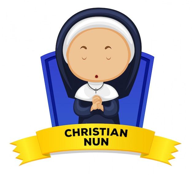 Wordcard z okupacją chrześcijańska zakonnica