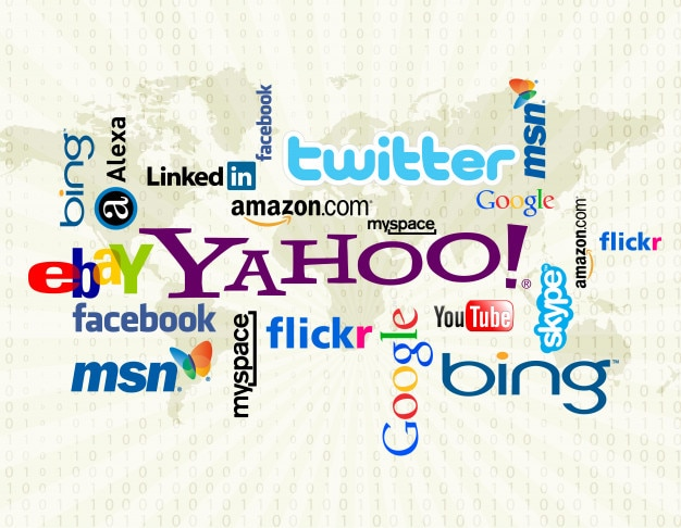 Wordcloud logo mediów społecznych