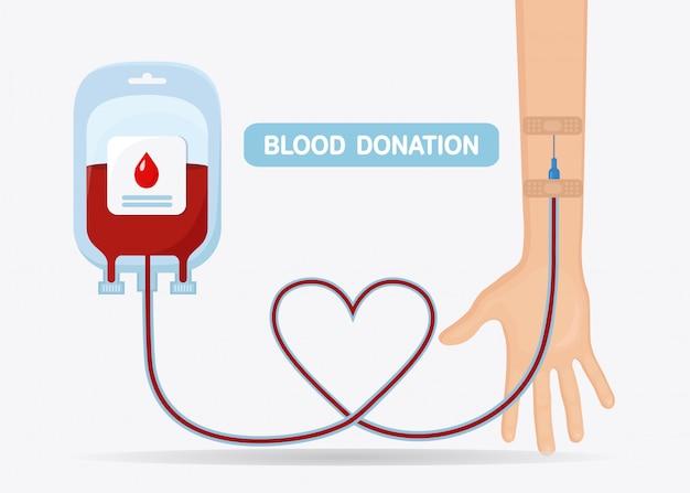 Worek krwi z czerwoną kroplą i ręką wolontariusza na białym tle