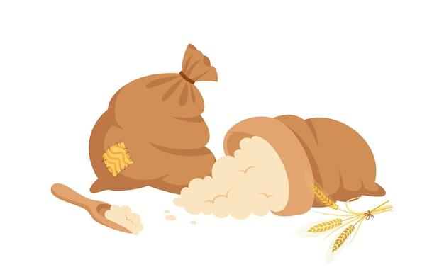 Worek mąki i kłosów pszenicy, drewniana łyżka, kreskówka. kupa mąki, kłoski ziaren złota.