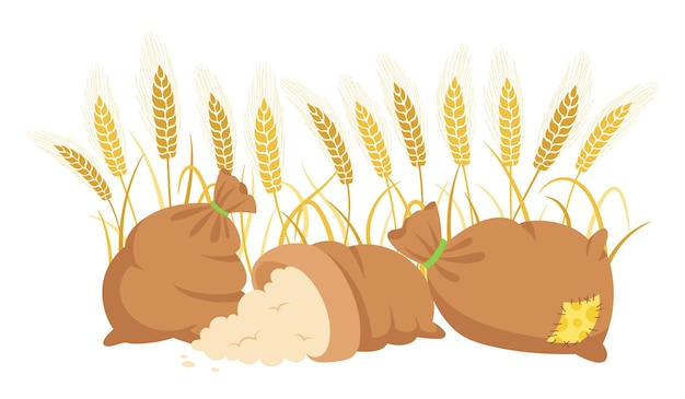Worek mąki i kłosy pszenicy, kompozycja rysunkowa mąka kupa, kłoski złota ziarna produkcja mąki rolnej