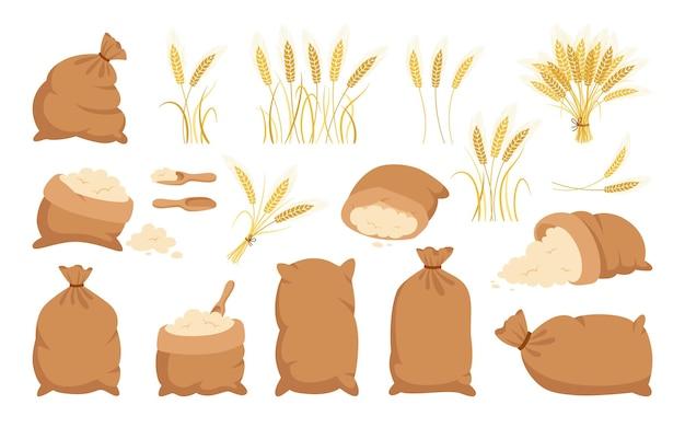 Worek mąki i kłosy pszenicy, zestaw rysunkowy mąka kupa, kolekcja kłosków złota ziarna