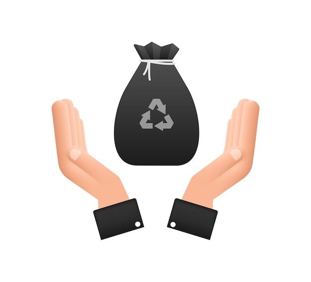 Worek na śmieci w ręce ikona. worek na śmieci. czas ilustracja wektorowa.