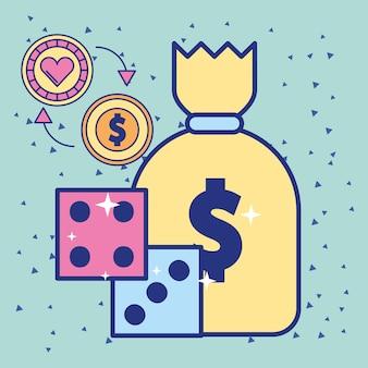 Worek pieniędzy i kości żetonów kasyna i monety dolara