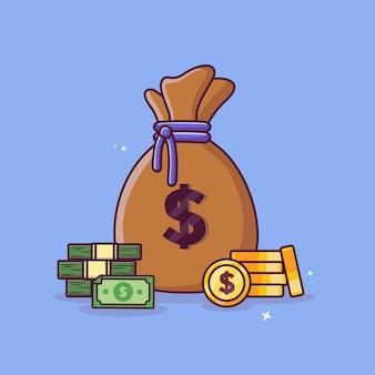 Worek pieniędzy i monety gotówkowe z pojęciem dolara złote monety wektor ikona projektu